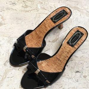 ec3d36fae72 Nickels Shoes - Black Mules Open Toe Bow Kitten Heel Size 9 M New